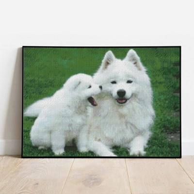보석십자수 강아지 가족 DIY 픽스아트 큐빅 비즈 취미생
