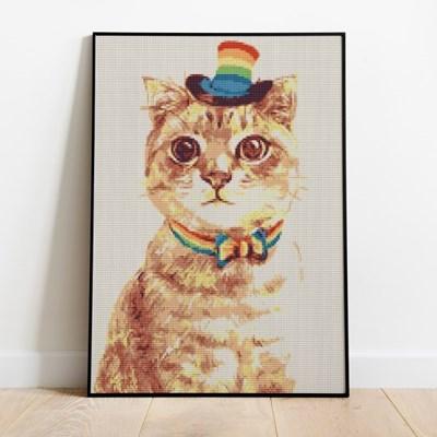 보석십자수 무지개 고양이 DIY 픽스아트 큐빅 비즈 취미