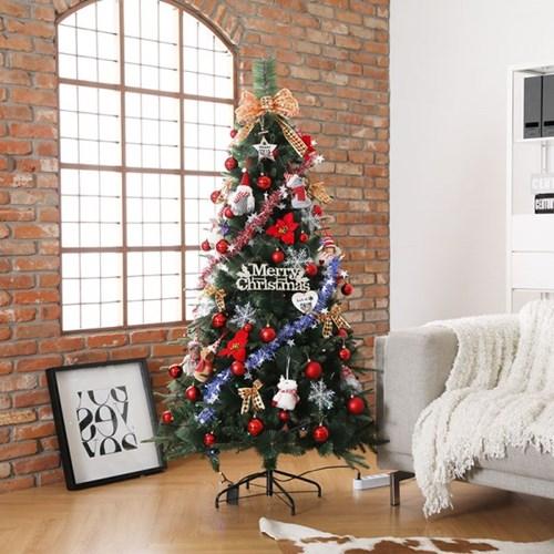 [비솜] 슬림함이 돋보이는 크리스마스 믹스트리180cm세트 대형트리