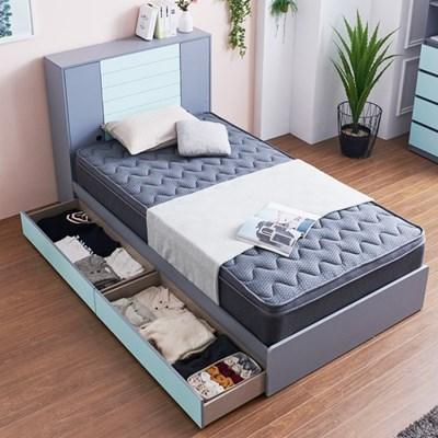 블랑 도어수납 서랍형 슈퍼싱글 침대 (매트포함)_(1282439)