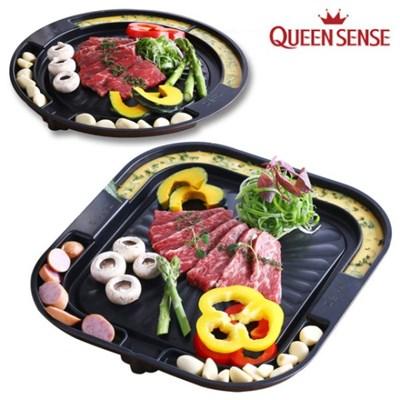 퀸센스 고기굽는팬 1인고기불판 가정용 캠핑용 삼겹불판 혼술팬