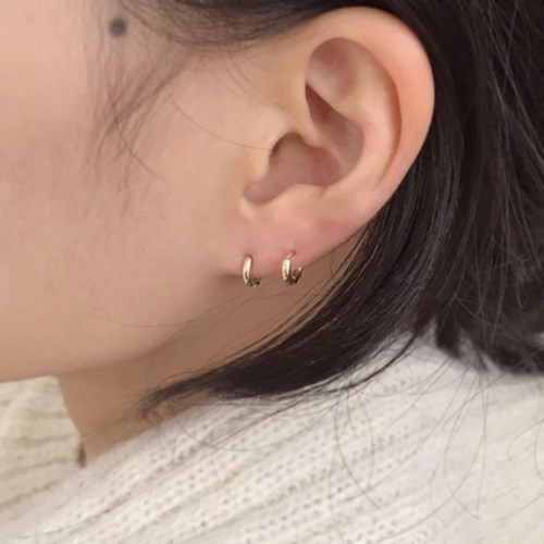 (silver 92.5) 모던 링 한 쌍 귀걸이
