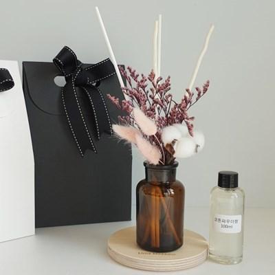 목화솜 프리저브드 꽃다발 디퓨저+선물 박스 세트