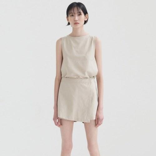 Linen Skirt Pants - Beige