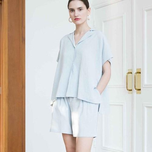 Banding Linen Shorts - Blue