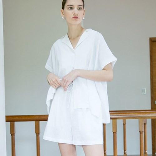Banding Linen Shorts - White
