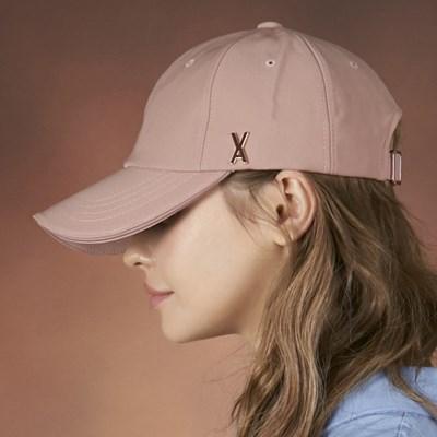 [바잘] 로즈골드 스터드 오버핏 볼캡 핑크