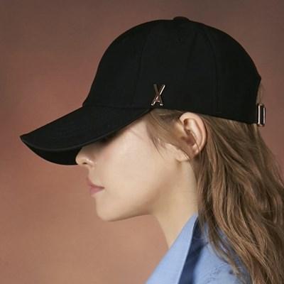 [바잘] 로즈골드 스터드 오버핏 볼캡 블랙
