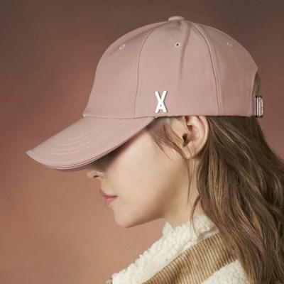 [바잘] 실버 스터드 오버핏 볼캡 핑크