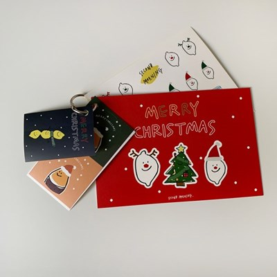 크리스마스 엽서 & 스티커 세트