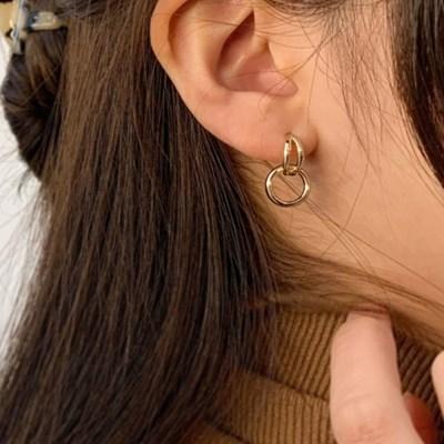 볼드 더블 원형 연결 일자침 링링 귀걸이