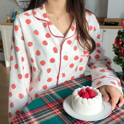 딸기 피치기모 파자마 잠옷 겨울 홈웨어 2color
