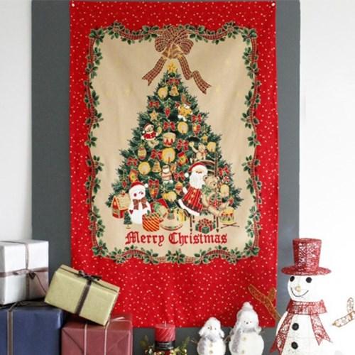 레트로 크리스마스 트리 패브릭 포스터 가리개 2type