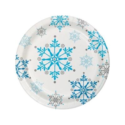 [빛나파티]겨울왕국 7인치(18cm) 종이접시 Snowflake Swirls Dessert