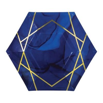 [빛나파티]네이비 골드 불규칙 줄무늬 접시 Navy Blue Gold Geode Pl