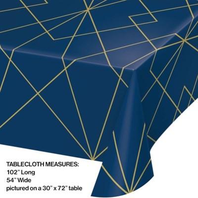 [빛나파티]네이비 골드 불규칙 줄무늬 파티용 비닐 테이블커버 Navy