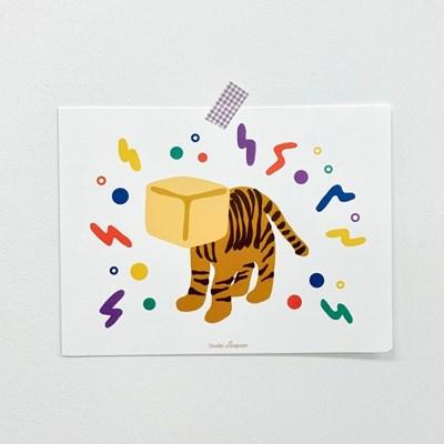호랑이 일러스트 엽서 포스터