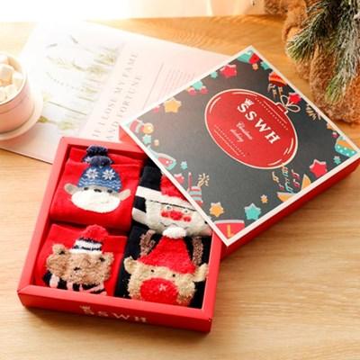[4켤레세트]성탄 세트 박스포함 크리스마스 수면양말_(2504320)