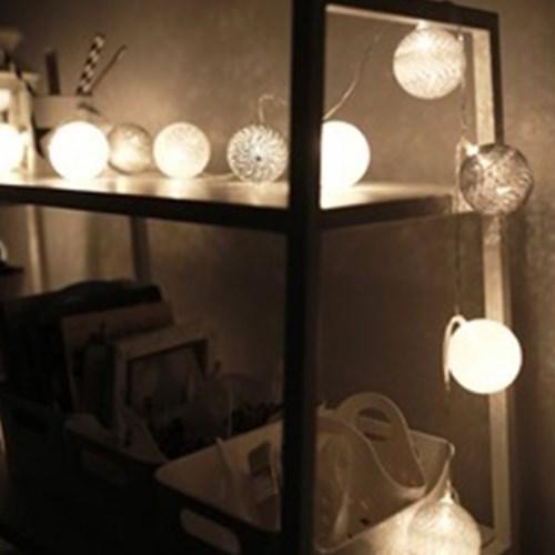 북유럽 코튼볼 LED 가랜더 전구 (5color) - 건전지용_(2090840)