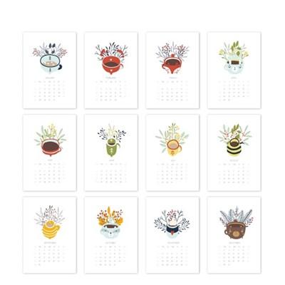 [2021 CALENDAR] Cozy and Cute Hand Drawn Cups