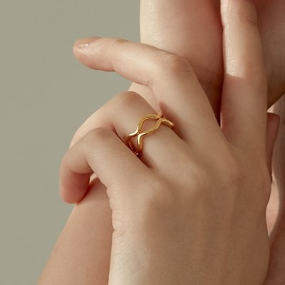 925 Silver double spike line ring (925 실버)