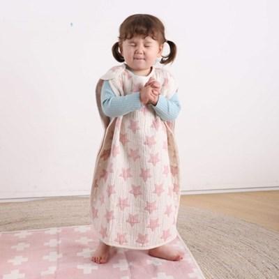 허그미마미 유아 아기 수면조끼 스타 핑크