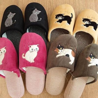 [수입]고양이 헤링본 슬리퍼 4종