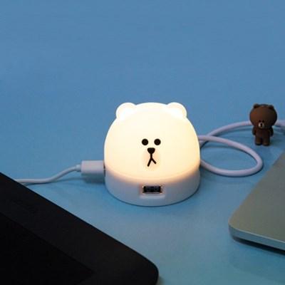 브라운앤프렌즈 USB HUB 브라운 무드 램프