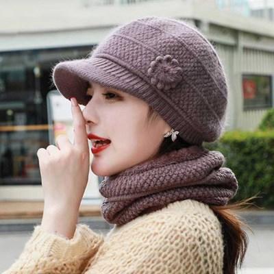 Mujer Invierno knit 앙고라꽃 챙모자 넥워머 SET