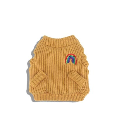 [monchouchou] Rainbow Knit Cardigan_Amber Yellow