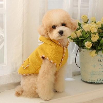 다솜 체크 양양이 후드 조끼 강아지겨울옷