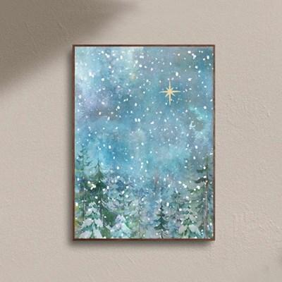 크리스마스 눈 내리는 겨울 감성 빈티지 포스터 액자
