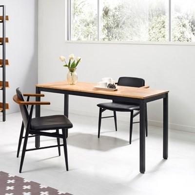 포엠 고무나무 원목 다용도 철제 책상 테이블1500