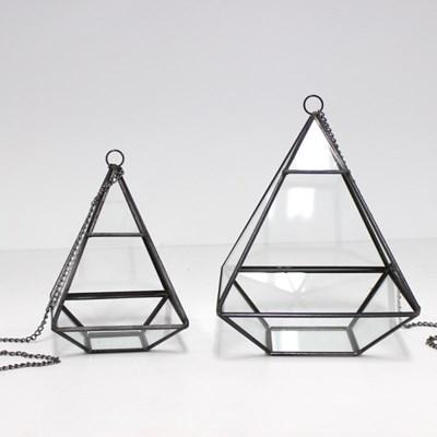 피라미드 테라리움 유리볼 블랙