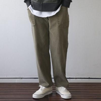 피그먼트 워싱 면 스판 밴딩 기모 바지 남자 겨울 팬츠