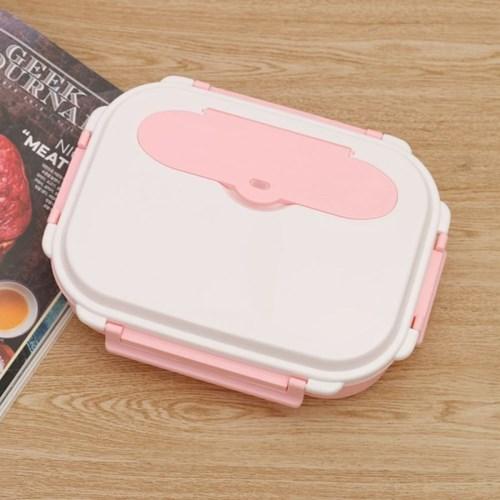 쿠킹락 수저통 식판도시락(4구) (핑크)