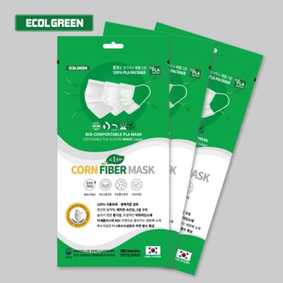 에콜그린 콘파이버 덴탈마스크 10매 친환경 식물성 일회용 국내산