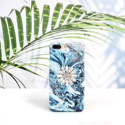 블루밍 큐빅 그립 스마트톡 대리석 핸드폰케이스 갤럭시/아이폰