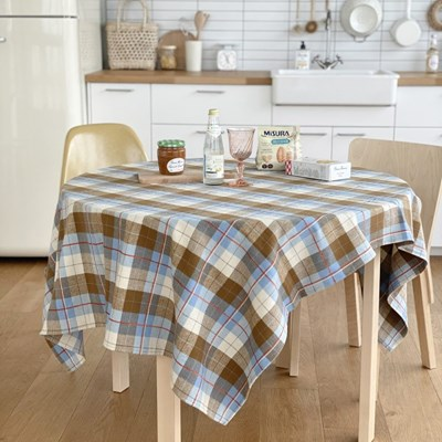 [hansday] cozy beige check tablecloth & blanket