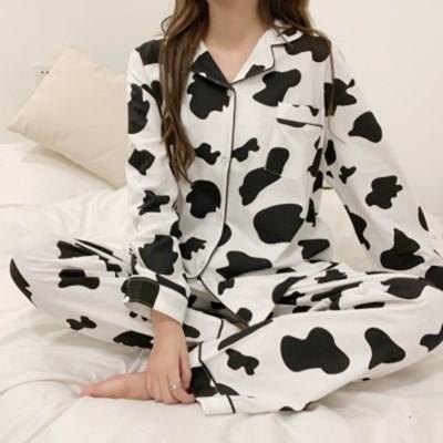 카우 패턴 여성 잠옷 파자마 세트