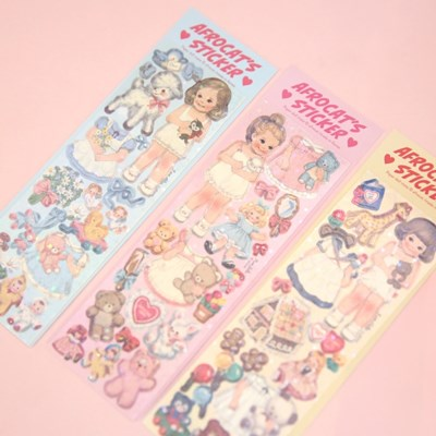 afrocat pearly sticker_paper doll mate