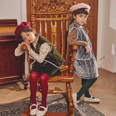 퍼키 벨벳 물결퀼팅 밴드 치마 (2컬러) 여아 자매 겨울