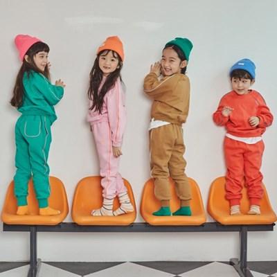 퍼키 컬러풀 배색 기모 아동 맨투맨 트레이닝복 상하복
