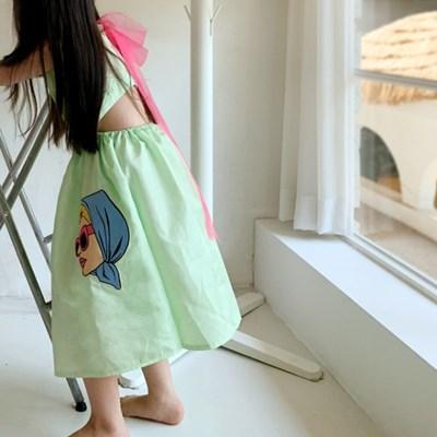 퍼키 여아 여름 백 오픈 민트 드레스 원피스