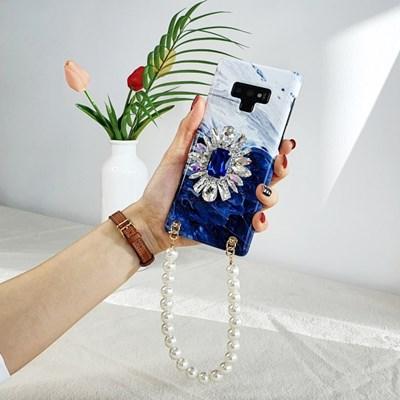 딥블루 큐빅 그립 스마트톡 대리석 진주 스트랩 핸드폰케이스