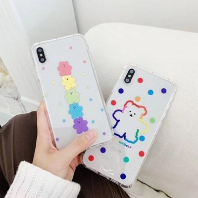아이폰XS MAX 땡땡이 곰돌이 곰젤리 투명 젤리 케이스