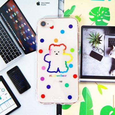 아이폰11 프로 맥스 레인보우 곰돌이 투명 젤리 케이스