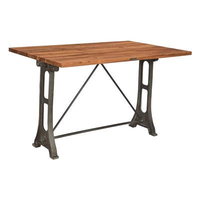 CAST IRON TABLE WITH TEAK TOP