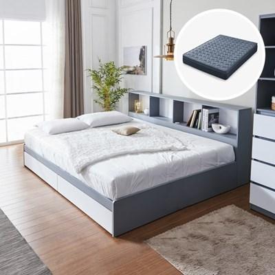 [세컨드컨테이너] 하이덴 파티션 수납형 침대(Q) + 유로탑 매트리스