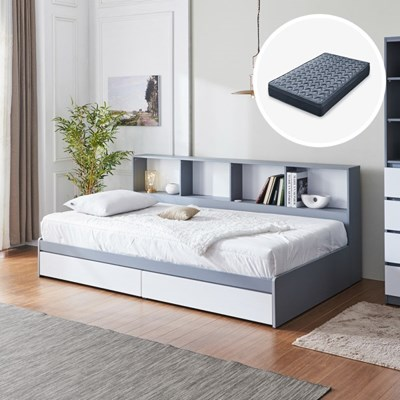 [세컨드컨테이너] 하이덴 파티션 수납형 침대(SS) + 유로탑 매트리스